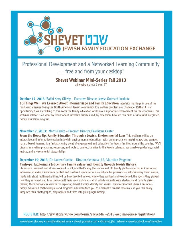 Shevet Fall 2013 Webinar Mini-Series